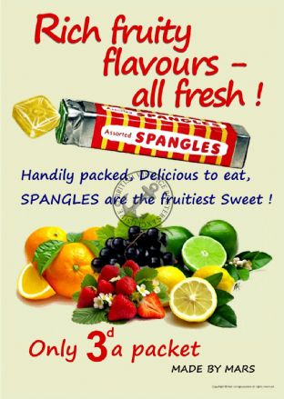 Spangles Fruity 1960's Sweet Poster